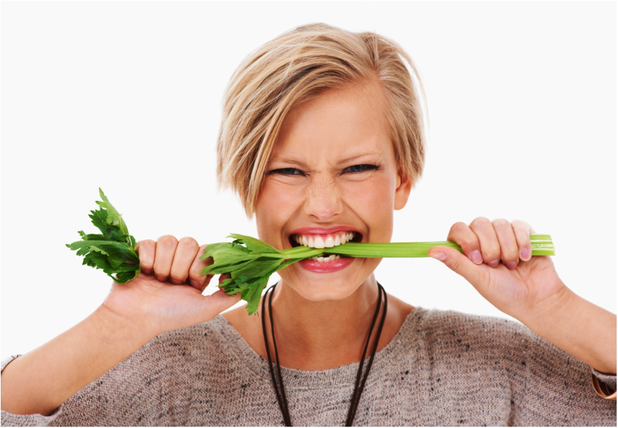 lady with celery in mouth